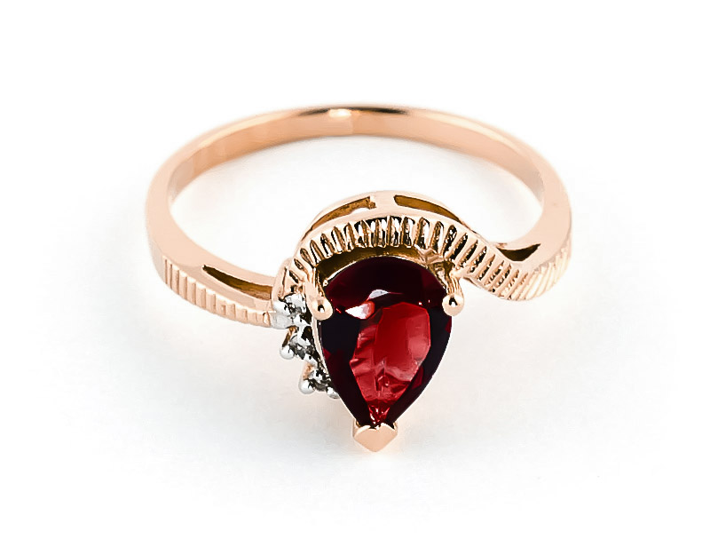 Bargain Garnet and Diamond Belle Ring 1.5ct in 9ct Rose Gold Stockists