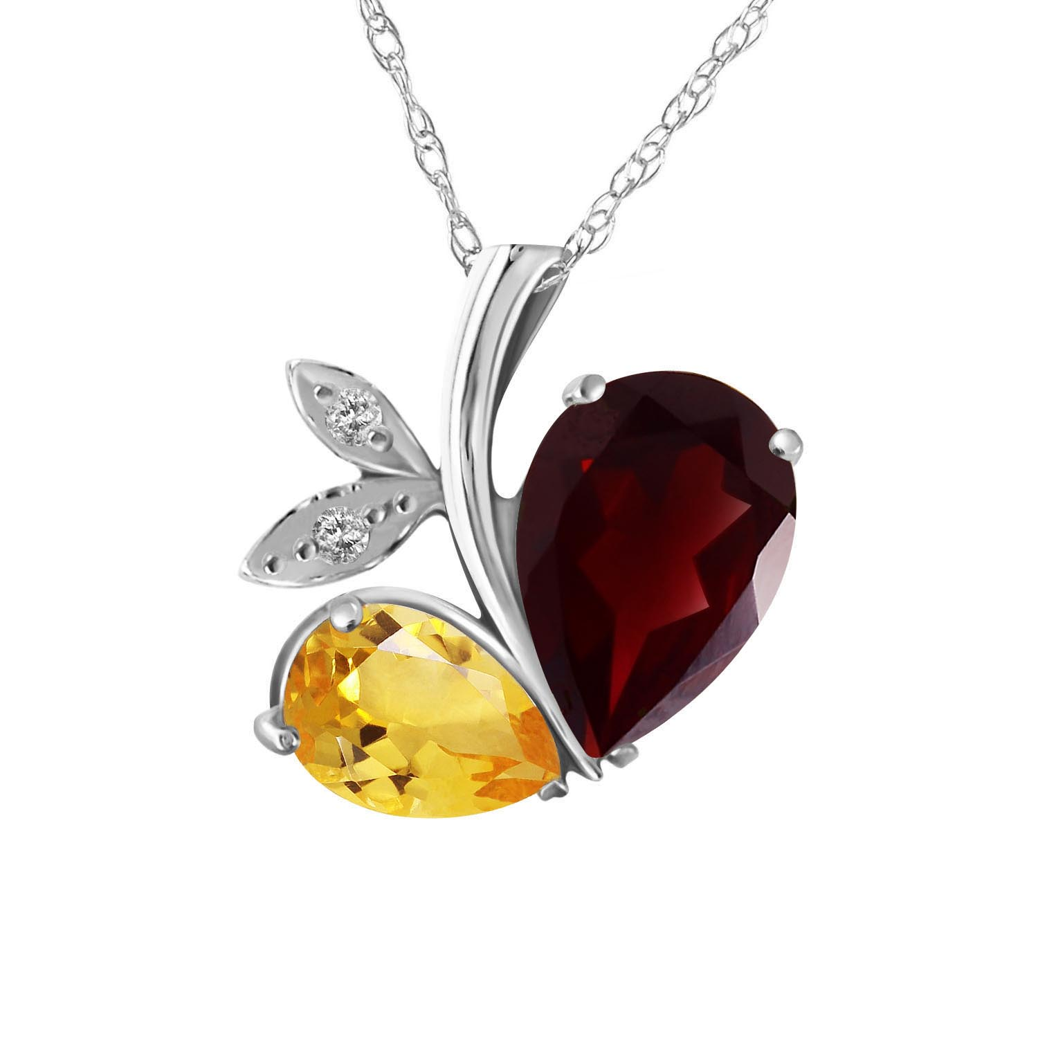 Bargain Garnet and Diamond Eternal Pendant Necklace 5.0ctw in 9ct White Gold Stockists
