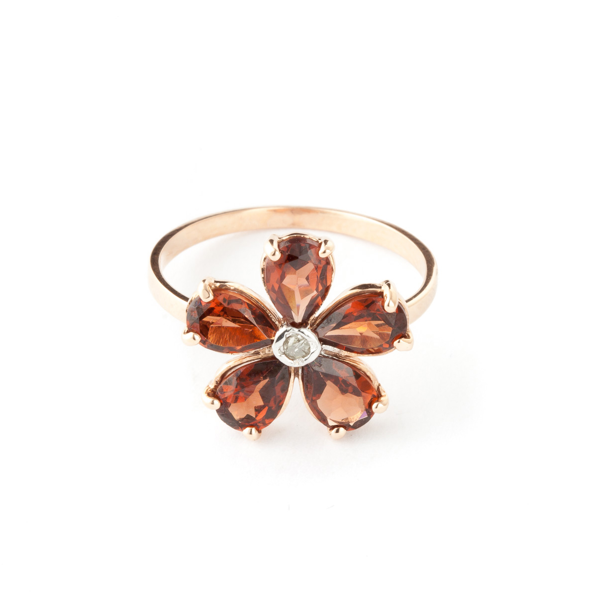 Bargain Garnet and Diamond Five Petal Ring 2.2ctw in 9ct Rose Gold Stockists