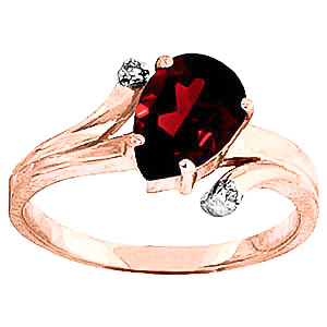 Bargain Garnet and Diamond Flank Ring 1.5ct in 9ct Rose Gold Stockists