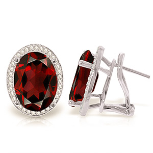Bargain Garnet and Diamond French Clip Halo Earrings 12.1ctw in 9ct White Gold Stockists
