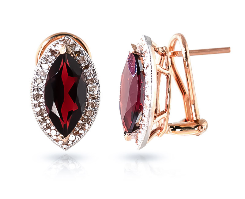 Bargain Garnet and Diamond French Clip Halo Earrings 4.0ctw in 9ct Rose Gold Stockists