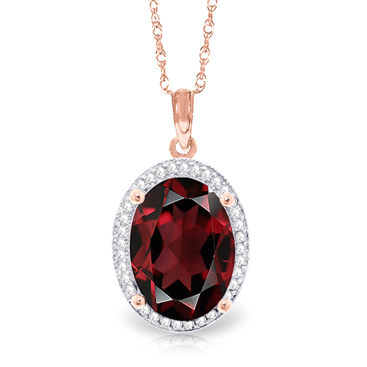 Bargain Garnet and Diamond Halo Pendant Necklace 6.05ct in 9ct Rose Gold Stockists