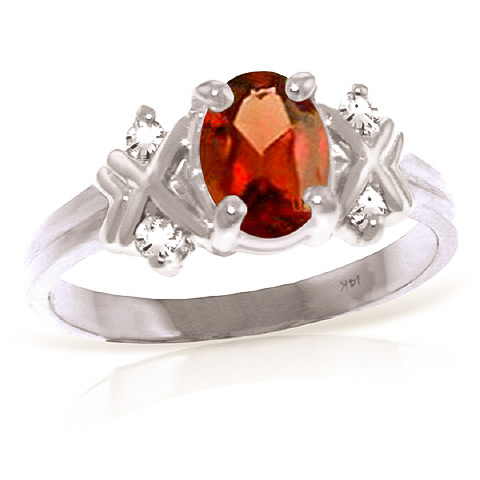 Bargain Garnet and Diamond Ring 0.85ct in 9ct White Gold Stockists