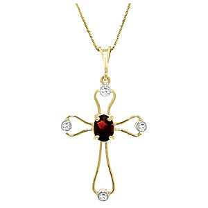 Bargain Garnet and Diamond Venetian Cross Pendant Necklace 0.45ct in 9ct Gold Stockists