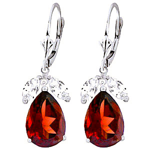 Bargain Garnet and White Topaz Drop Earrings 13.0ctw in 9ct White Gold Stockists