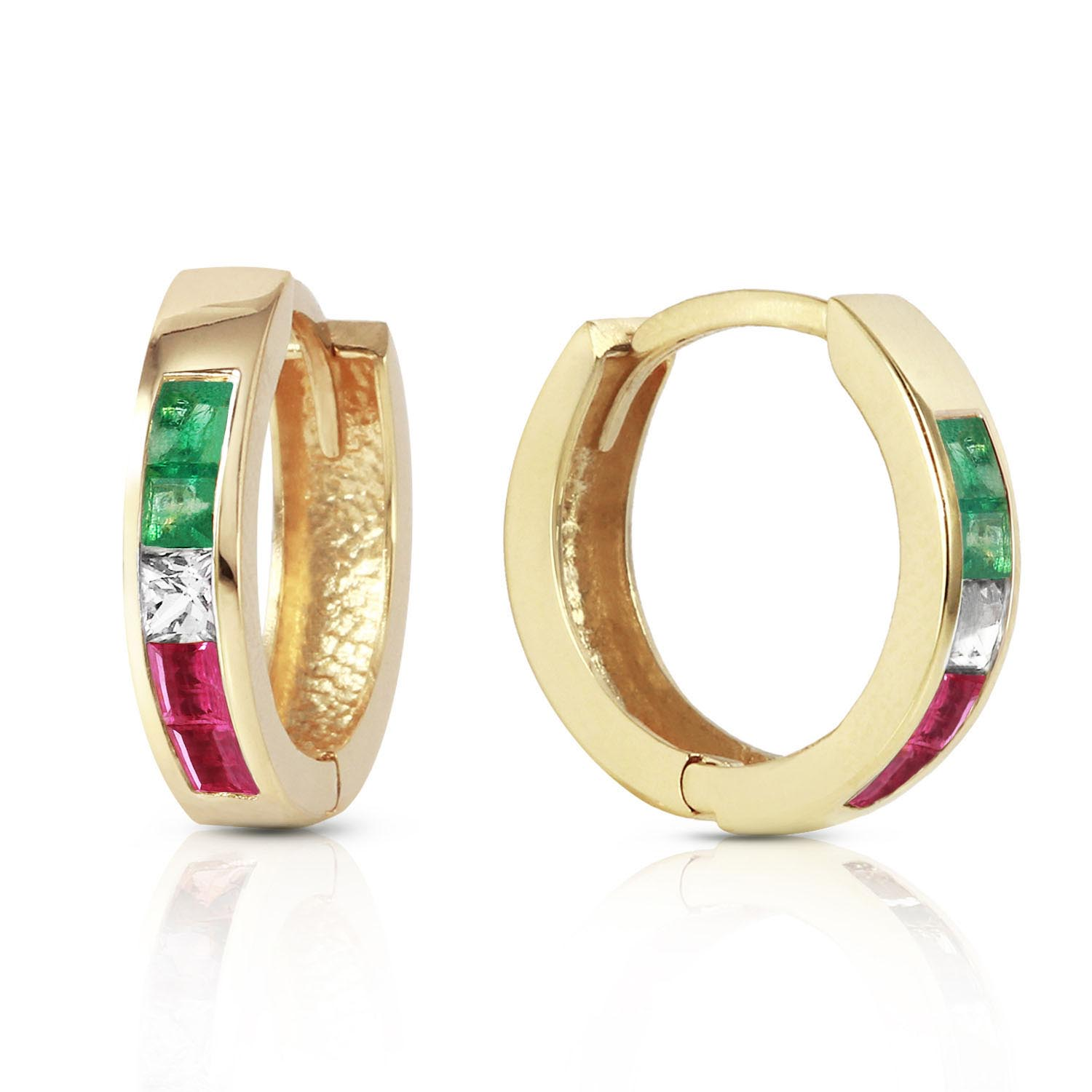 Bargain Gemstone Huggie Earrings 1.28ctw in 9ct Gold Stockists