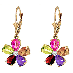 Bargain Gemstone and Diamond Flower Petal Drop Earrings 4.4ctw in 9ct Gold Stockists