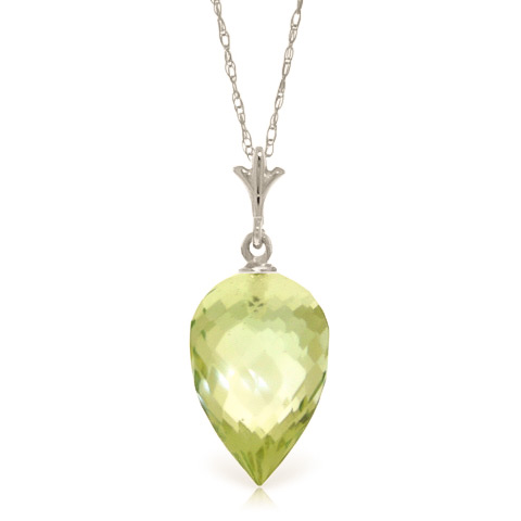 Bargain Green Amethyst Briolette Pendant Necklace 9.5ct in 9ct White Gold Stockists