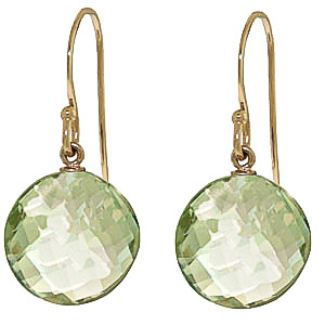 Bargain Green Amethyst Chequer Cut Drop Earrings 12.0ctw in 9ct Gold Stockists