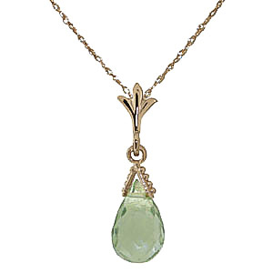 Bargain Green Amethyst Droplet Briolette Pendant Necklace 2.5ct in 9ct Gold Stockists