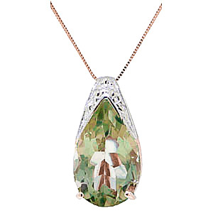 Bargain Green Amethyst Snowcap Pendant Necklace 5.0ct in 9ct Rose Gold Stockists