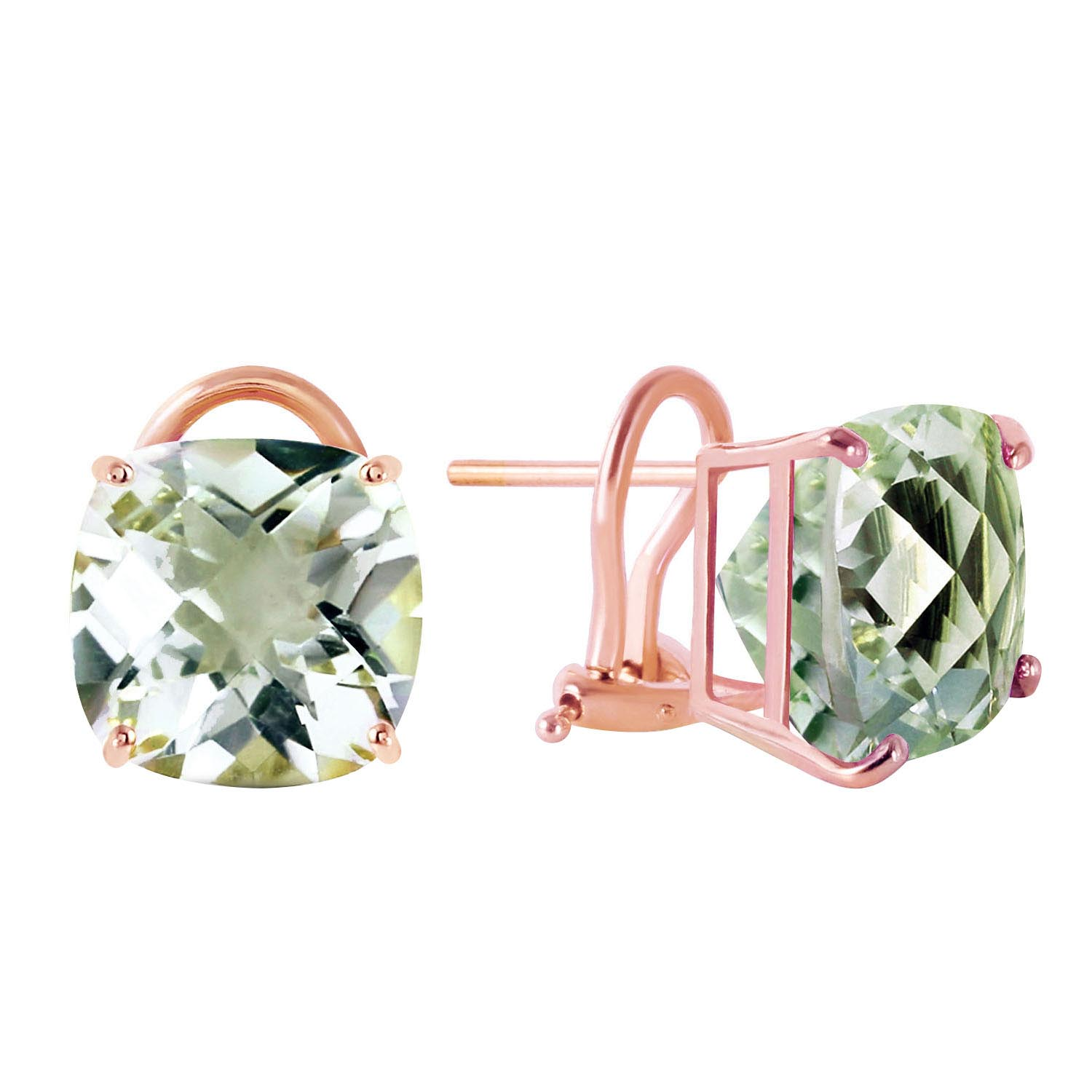 Bargain Green Amethyst Stud Earrings 7.2ctw in 9ct Rose Gold Stockists