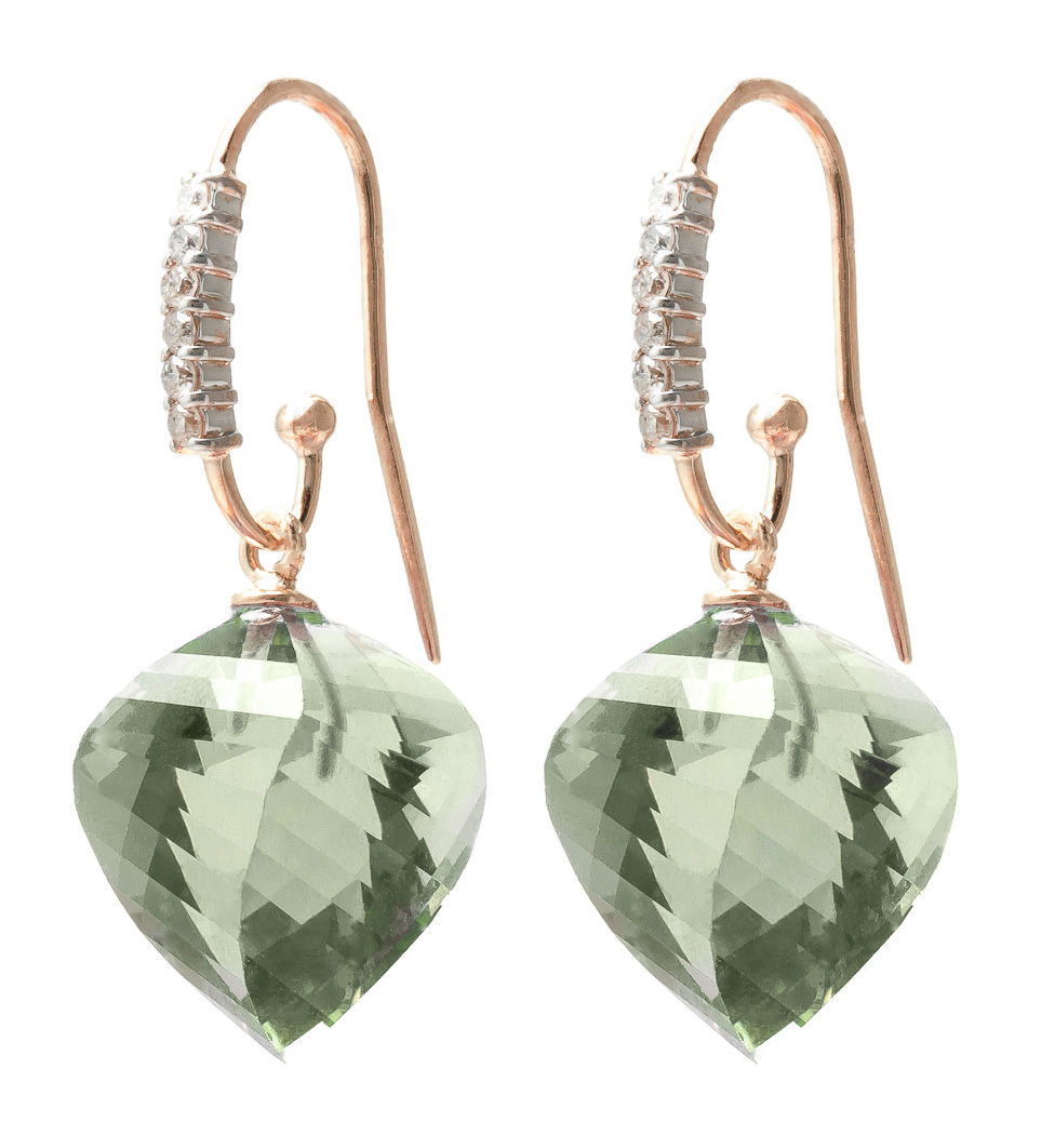 Bargain Green Amethyst and Diamond Drop Earrings 26.0ctw in 9ct Rose Gold Stockists