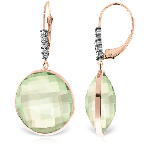 Bargain Green Amethyst and Diamond Drop Earrings 36.0ctw in 9ct Rose Gold Stockists