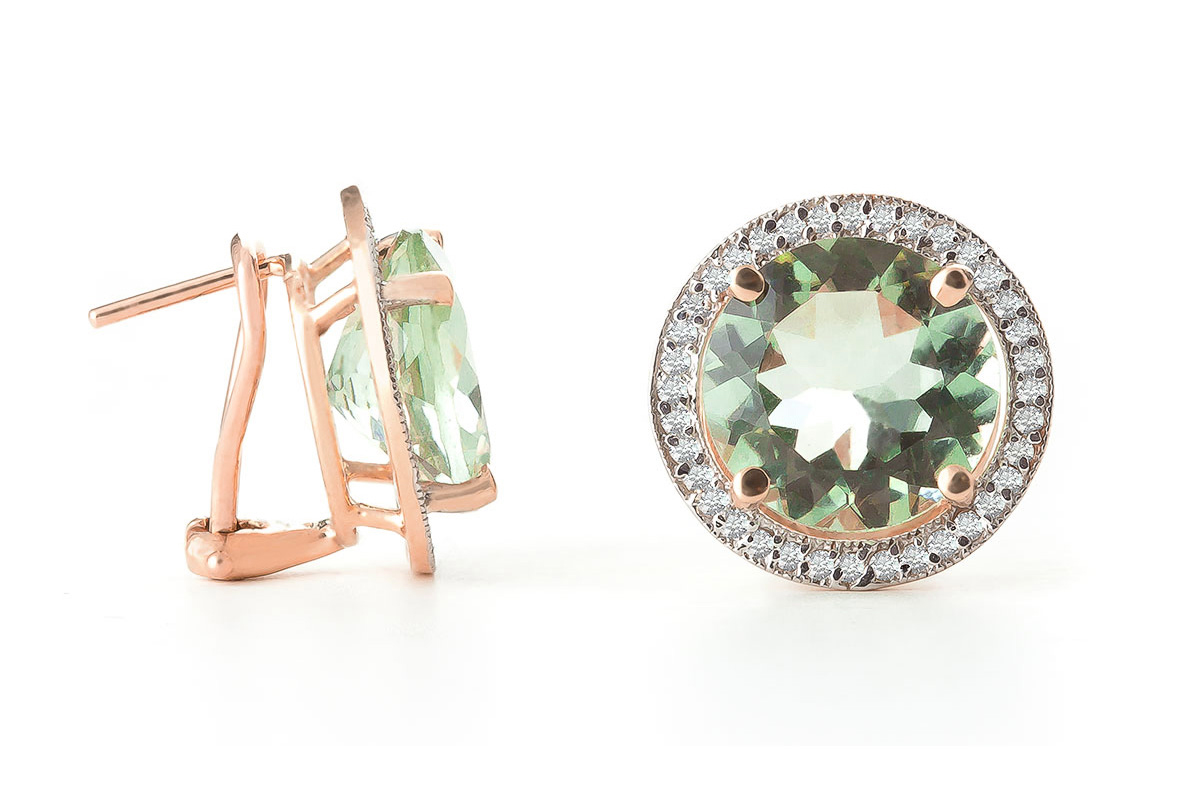 Bargain Green Amethyst and Diamond French Clip Halo Earrings 10.0ct in 9ct Rose Gold Stockists