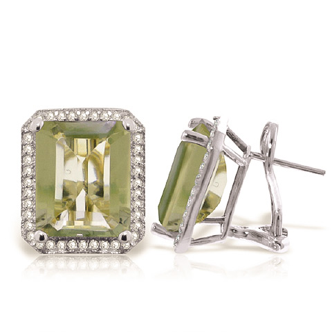 Bargain Green Amethyst and Diamond French Clip Halo Earrings 11.2ctw in 9ct White Gold Stockists