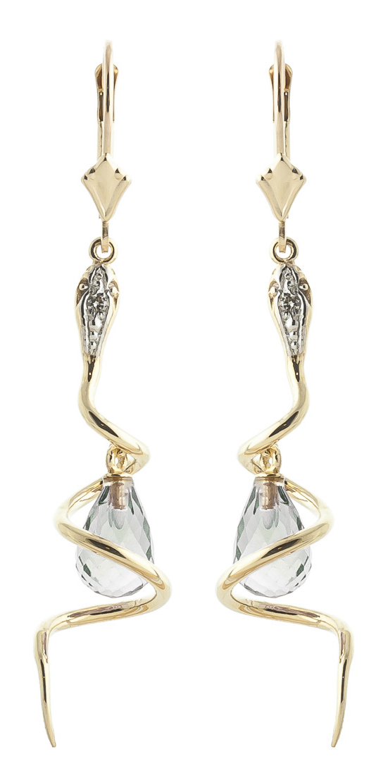 Bargain Green Amethyst and Diamond Serpent Earrings 4.5ctw in 9ct Gold Stockists