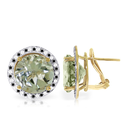 Bargain Green Amethyst and Diamond Stud French Clip Earrings 10.0ctw in 9ct Gold Stockists