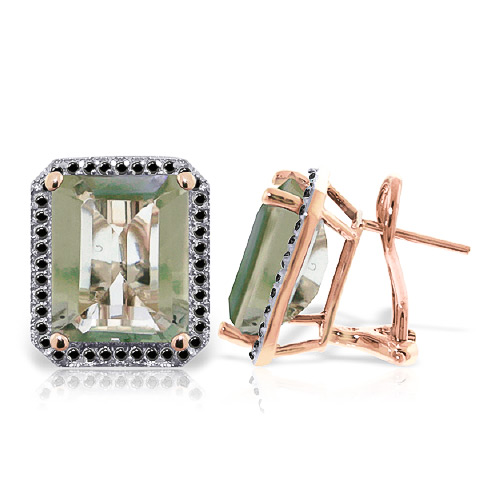 Bargain Green Amethyst and Diamond Stud French Clip Halo Earrings 11.2ctw in 9ct Rose Gold Stockists