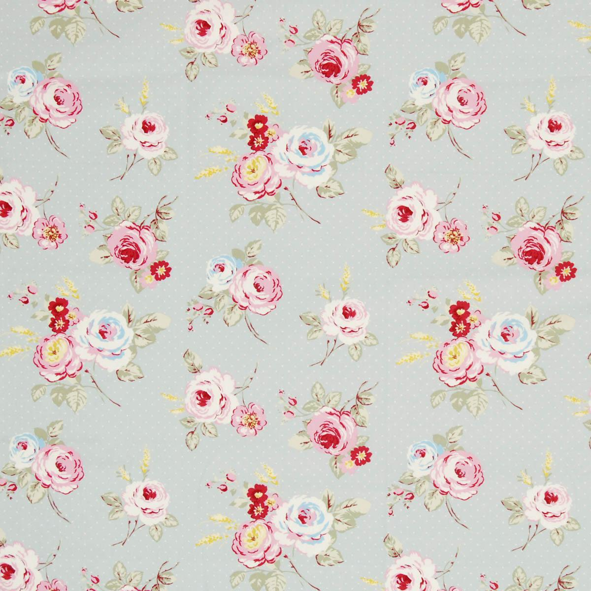 Stockists of Grey English Rose Curtain Fabric