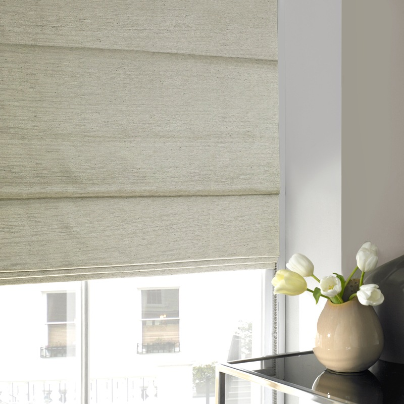 Stockists of Grey Salvador Faux Silk Roman Blind