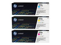 Bargain HP 312A Tri-Pack - 3-pack - yellow, cyan, magenta - original - LaserJet - toner cartridge (CF440AM) Stockists