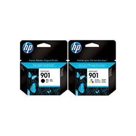 Bargain HP 901 Original Standard Black and Colour Ink Cartridge Pack Stockists