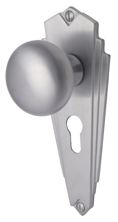 Bargain Heritage BR1848 Broadway Satin Chrome Mortice Knob on EURO Plate Stockists