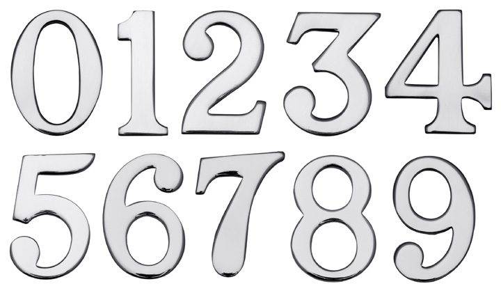 Stockists of Heritage C1568 Chrome Stick On Door Numerals 0-9 51mm