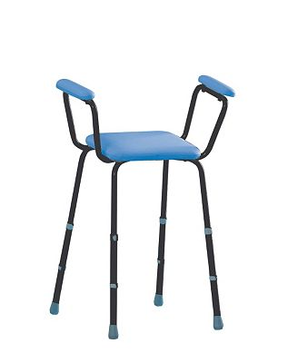 Bargain Homecraft Sherwood Perching Shower Stool Adjustable with Padded Arms   Blue Blue Stockists