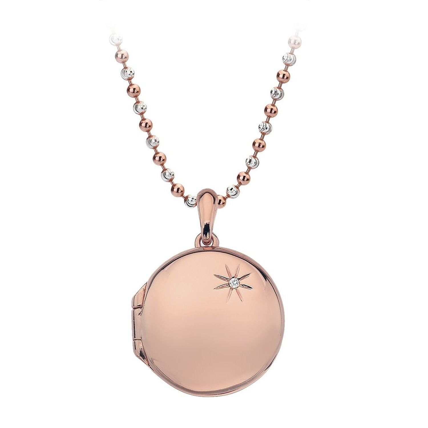 Bargain Hot Diamonds Necklace Memoirs Circle Locket Rose Gold Stockists