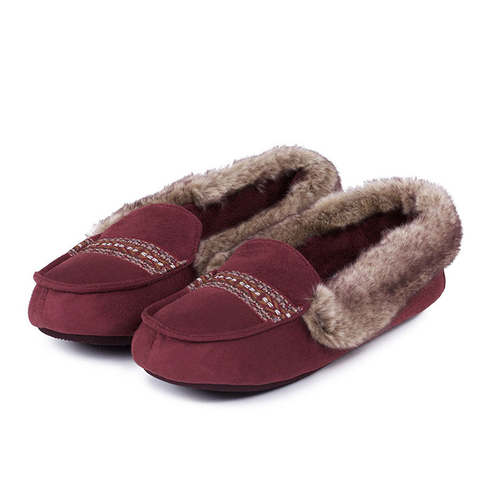 Bargain Isotoner Ladies Moccasin Slippers with Fur Cuff Henna UK Size 7 Stockists