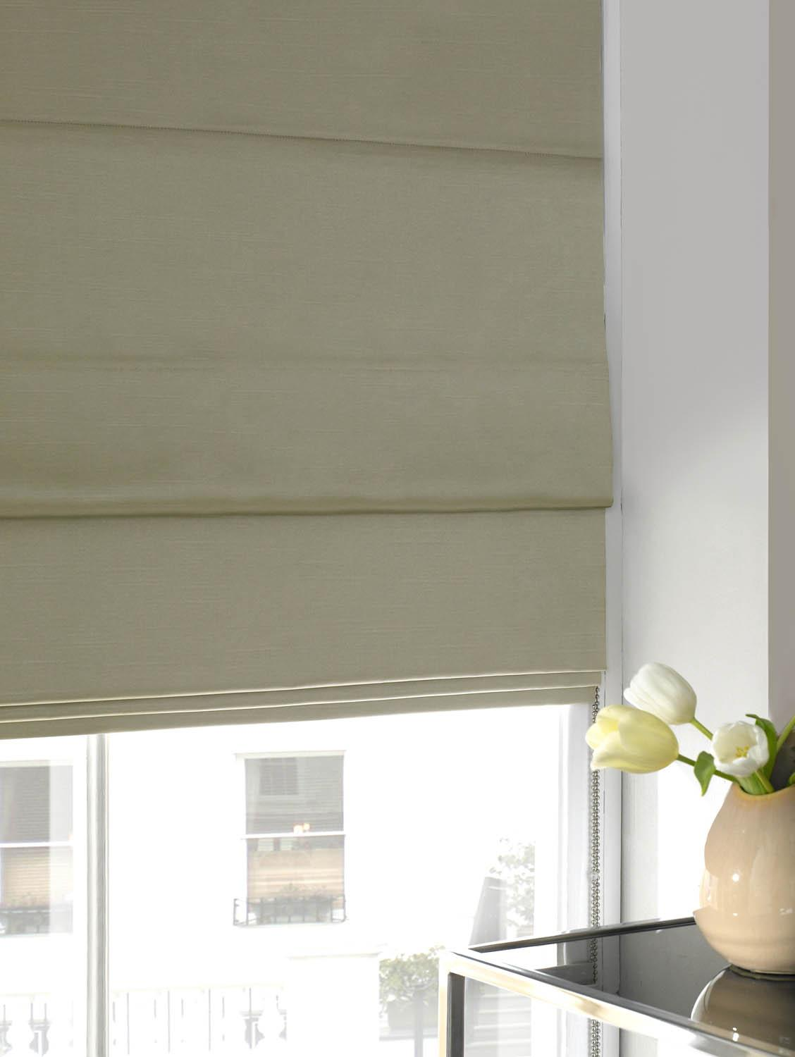 Stockists of Ivory Faux Silk Roman Blind
