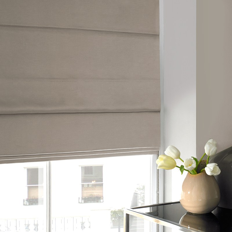 Stockists of Latte Shine Roman Blind