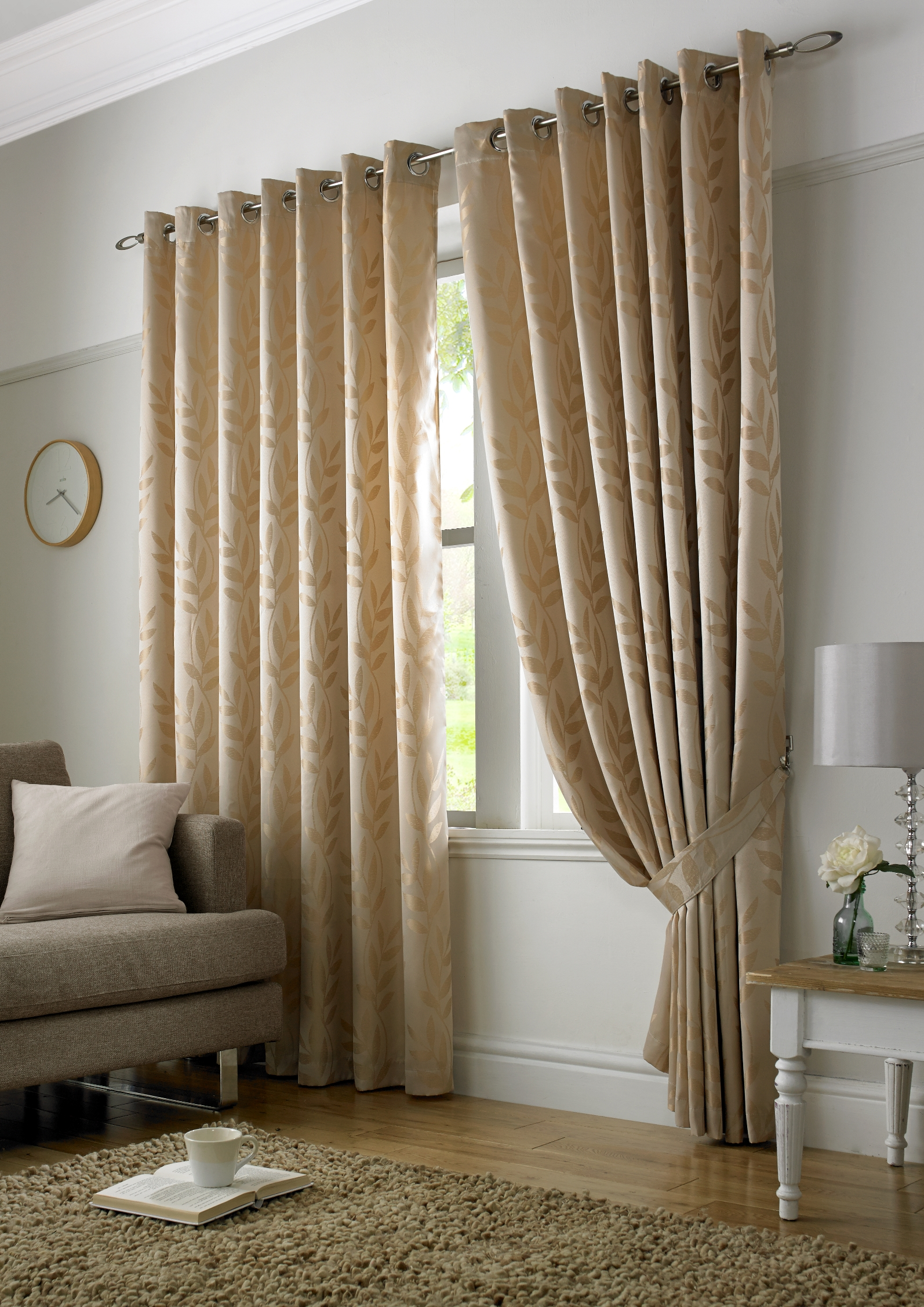 Stockists of Latte Tivoli Ready Made Eyelet Curtains