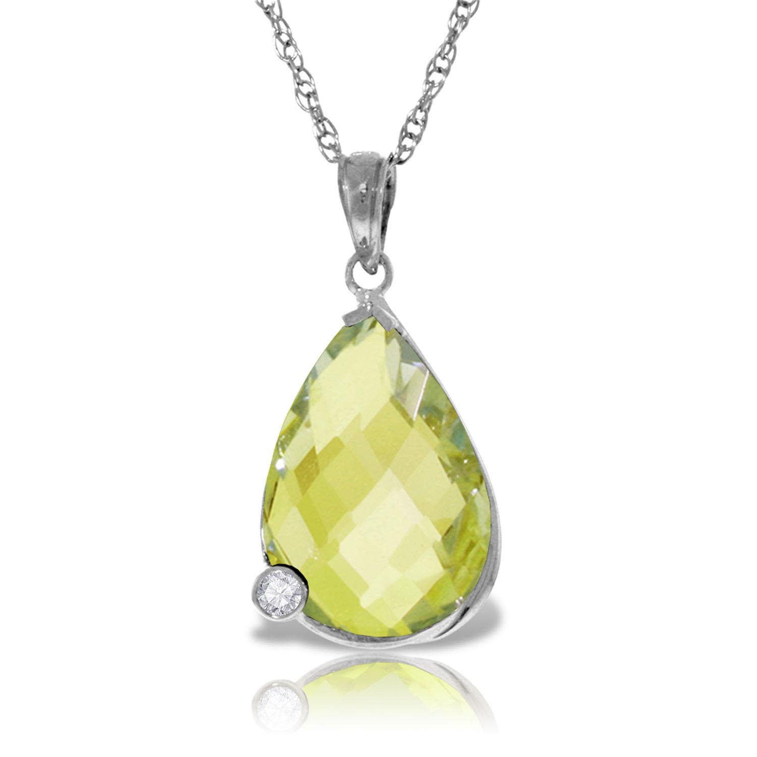 Bargain Lemon Quartz and Diamond Chequer Pendant Necklace 5.0ct in 9ct White Gold Stockists