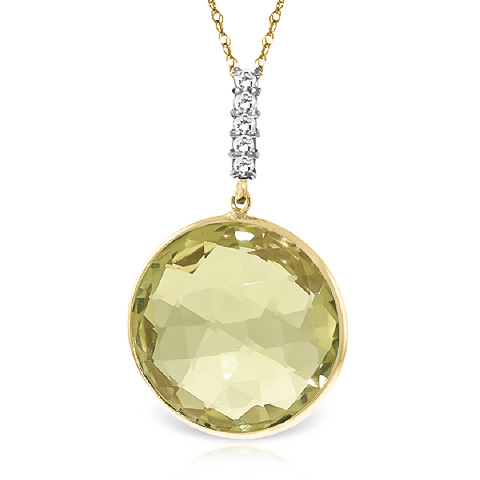Bargain Lemon Quartz and Diamond Pendant Necklace 17.0ct in 9ct Gold Stockists