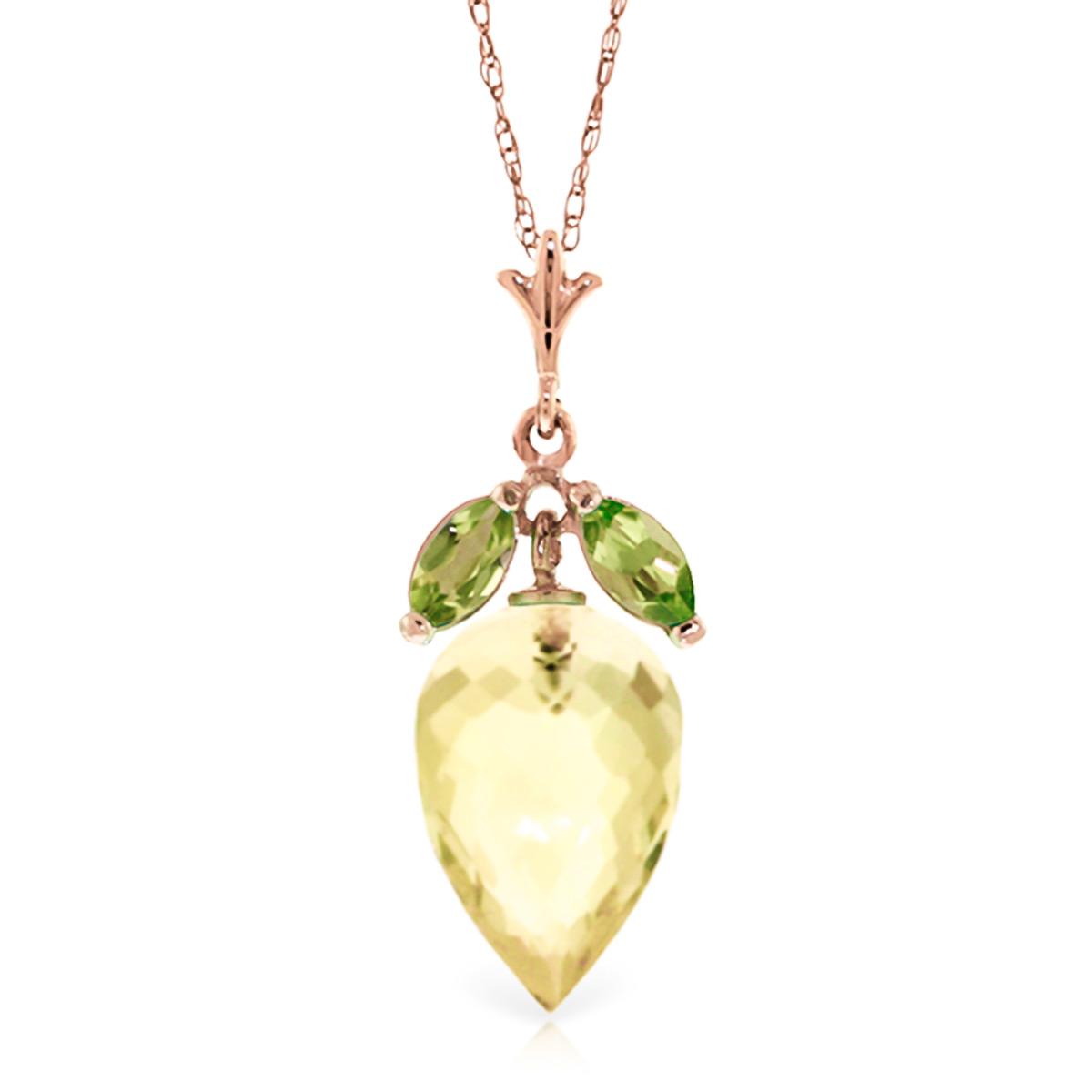 Bargain Lemon Quartz and Peridot Pendant Necklace 9.5ctw in 9ct Rose Gold Stockists