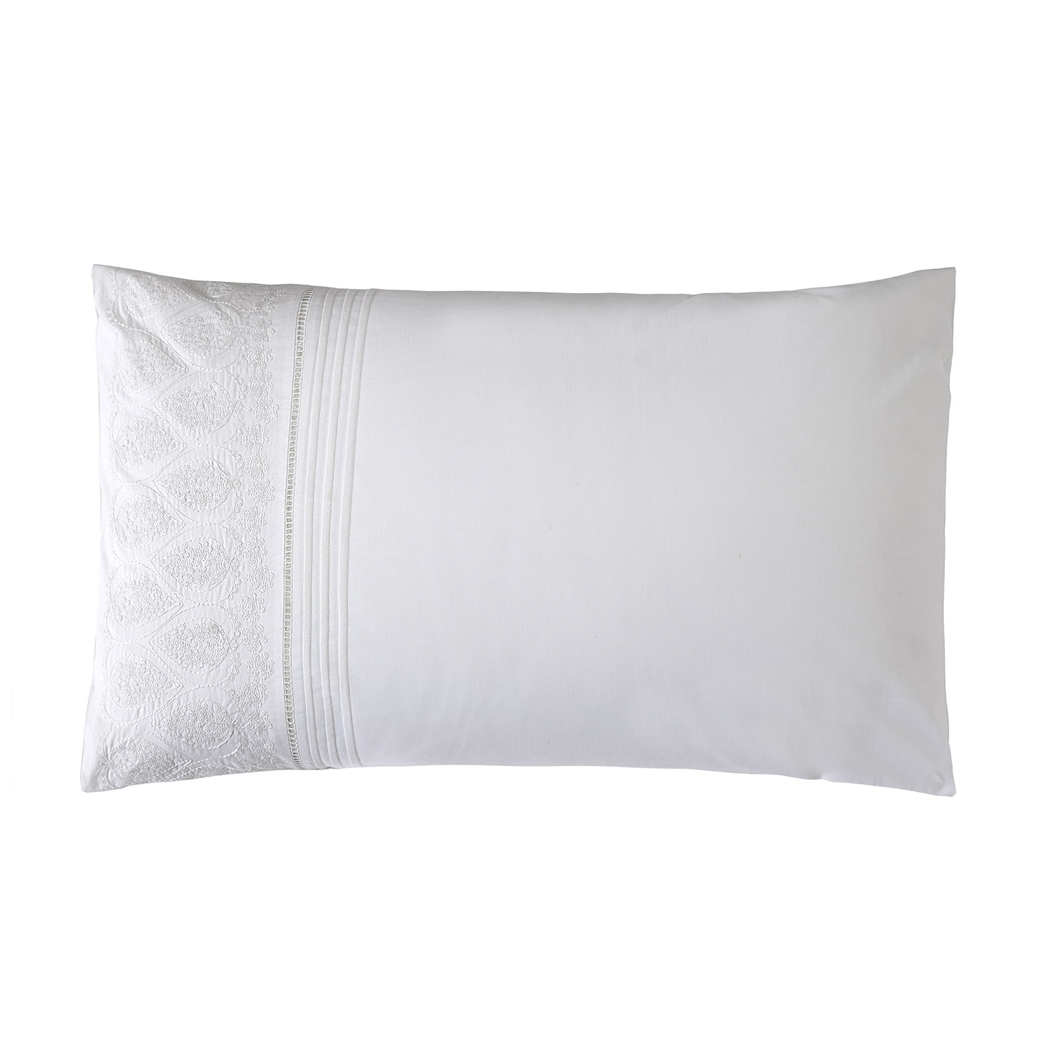 Bargain Madeline White Luxury Jacquard Housewife Pillow Cases (Pair) Stockists