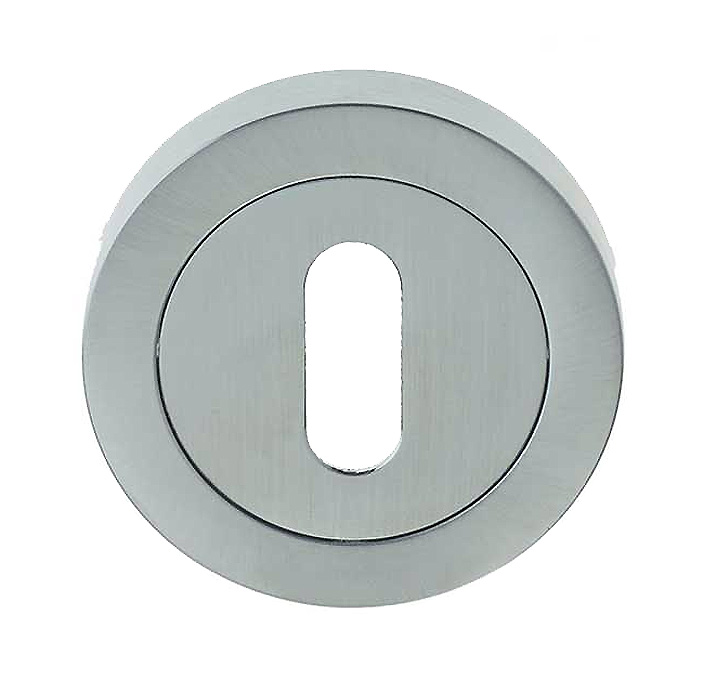 Stockists of Matt Chrome Standard Key Escutcheon 50mm