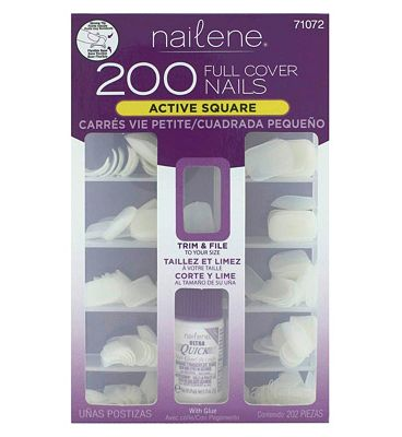 Bargain Nailene 200 Full Cover Nails   Active Length Square Stockists