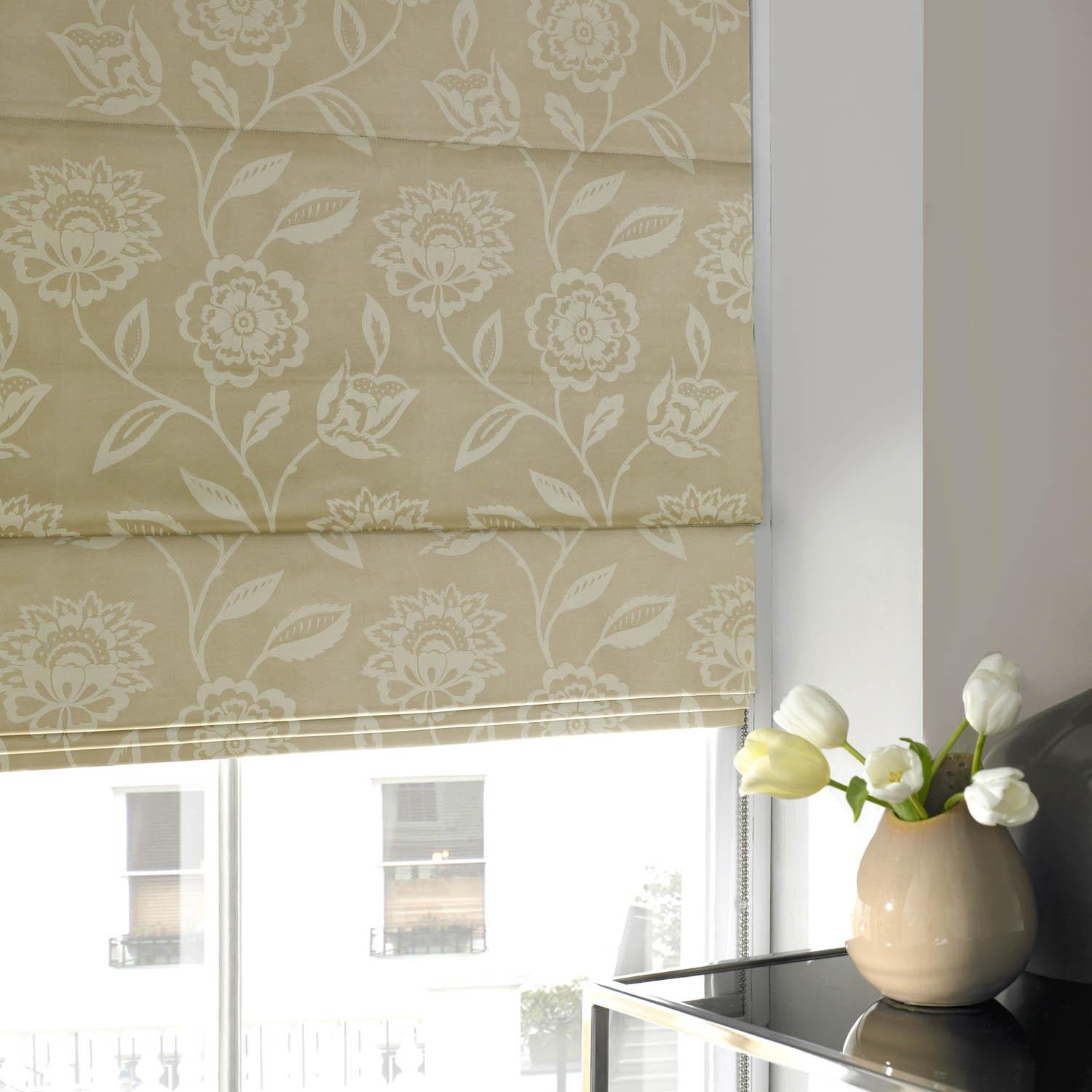 Bargain Natural Floral Jaquard Roman Blind Stockists