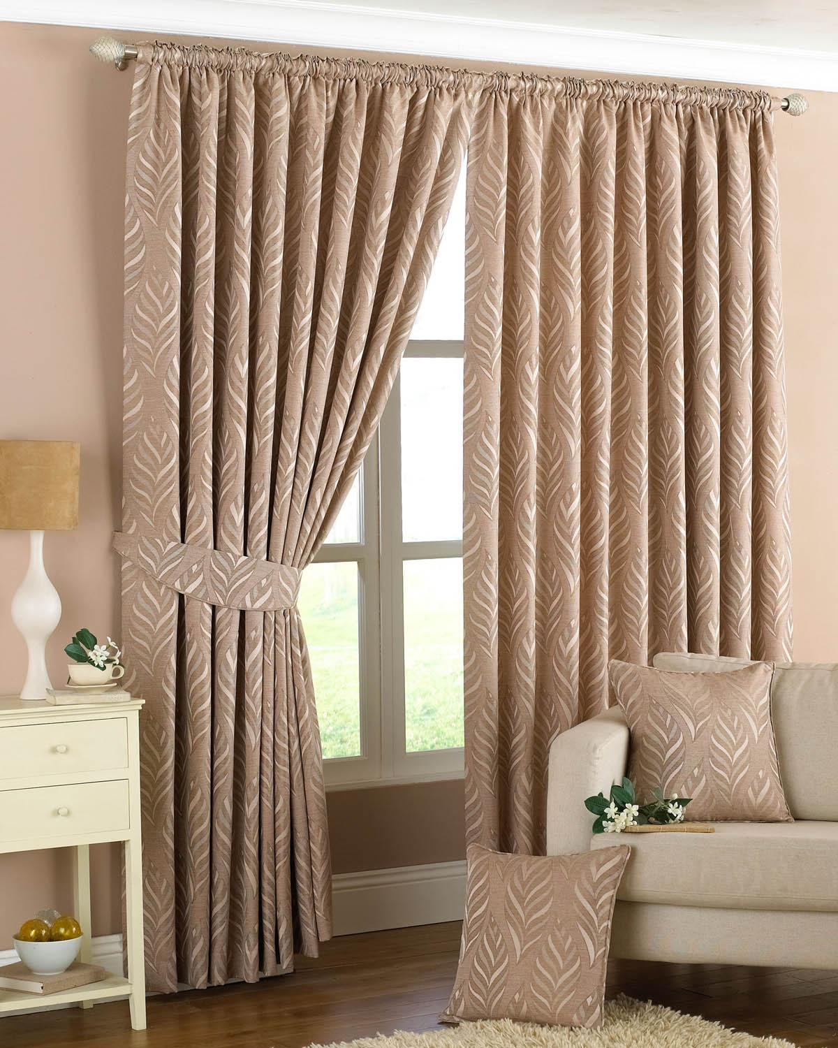 Stockists of Natural Narrow Leaf Ready Made Lined Curtains