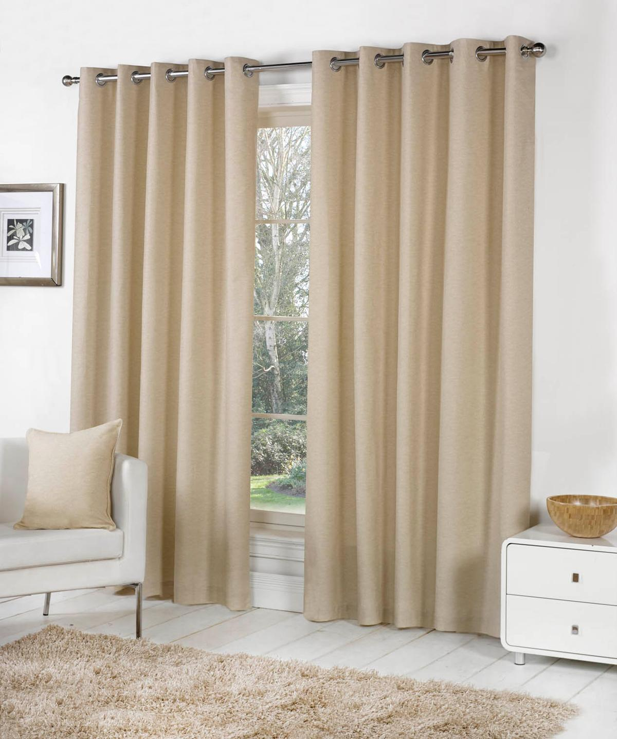 Stockists of Natural Sorbonne Ready Made Lined Eyelet Curtains