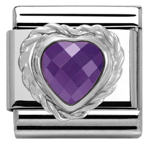 Bargain Nomination Charm Composable Link Heart Stone Purple Steel Stockists