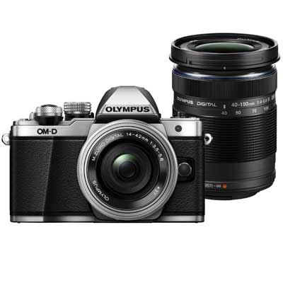 Bargain Olympus OM-D E-M10 Mark II Digital Camera with 14-42mm EZ Lens and 40-150mm Lens - Silver Stockists