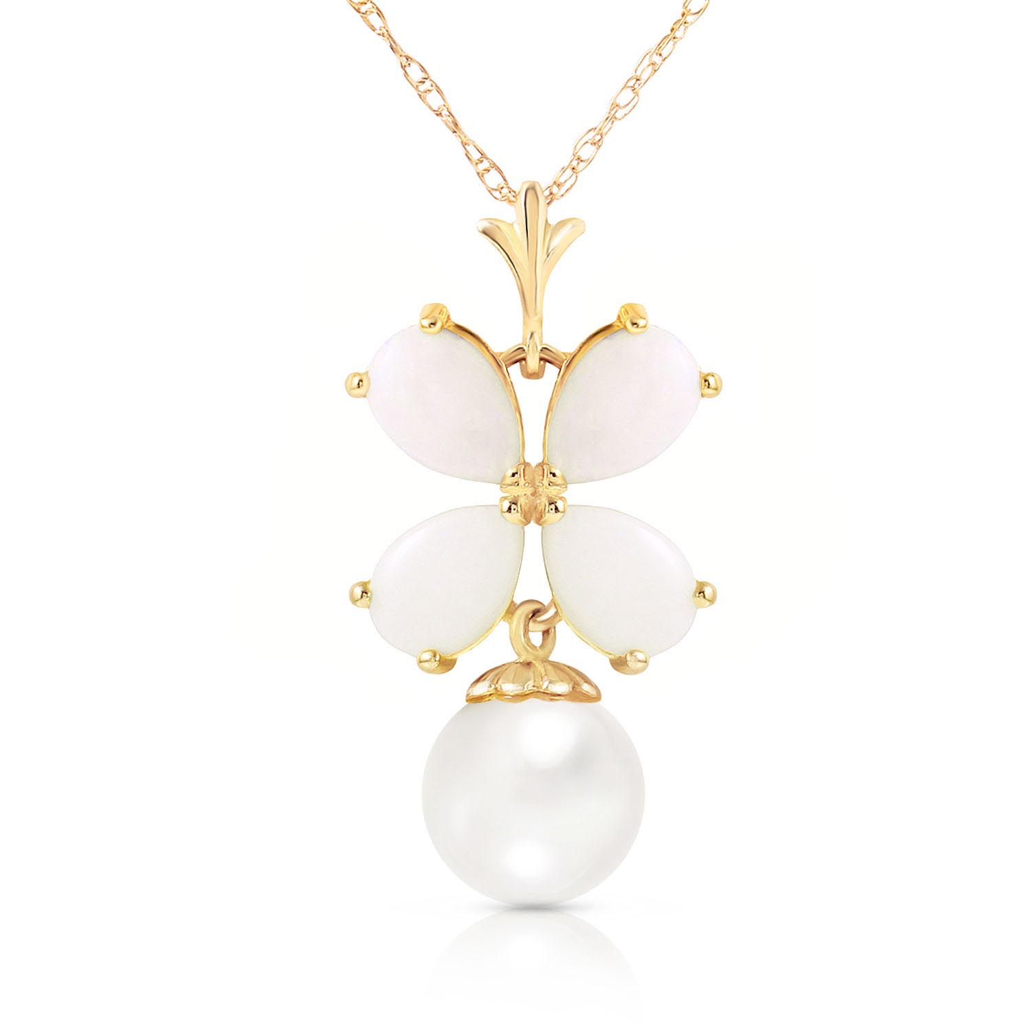 Bargain Opal and Pearl Blossom Pendant Necklace 3.0ctw in 9ct Gold Stockists