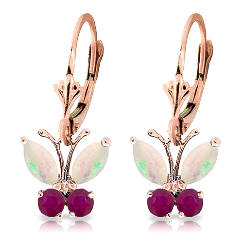 Bargain Opal and Ruby Butterfly Drop Earrings 1.39ctw in 9ct Rose Gold Stockists