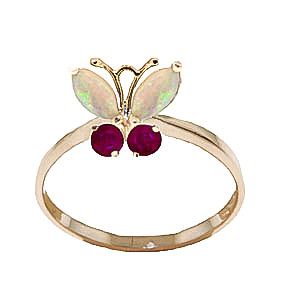 Bargain Opal and Ruby Butterfly Ring 0.7ctw in 9ct Gold Stockists